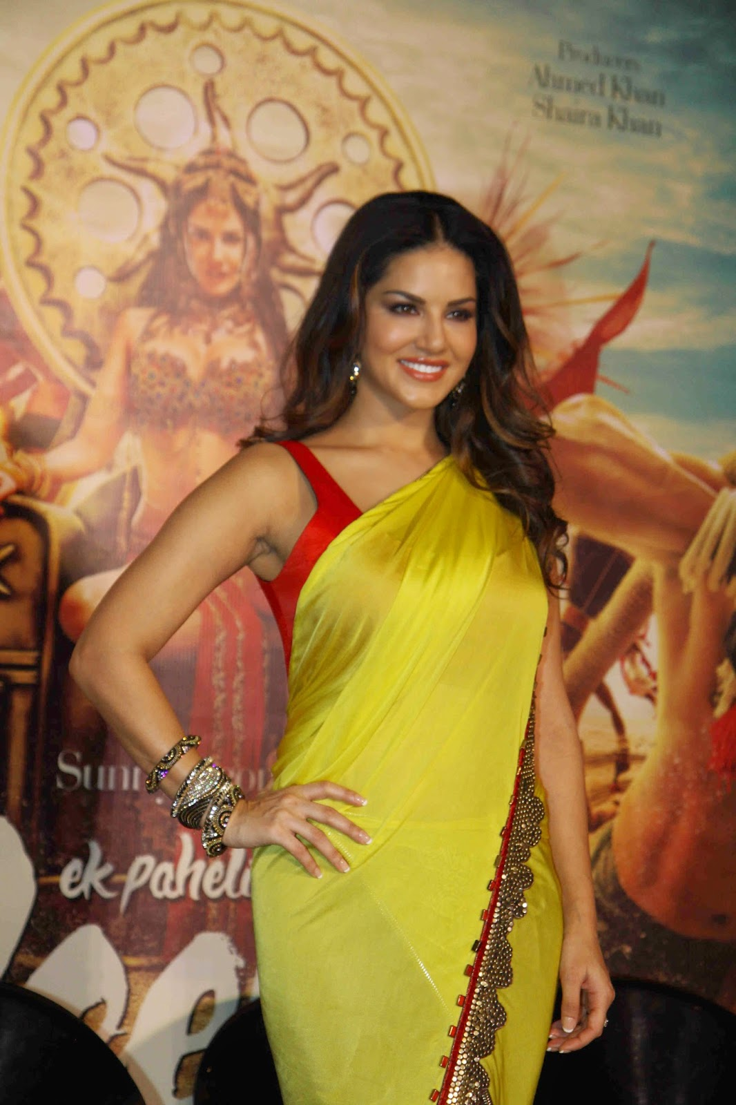 Sunny Leone in Half and Half Saree