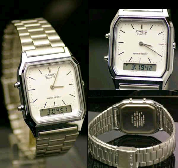 casio dual time balok putih
