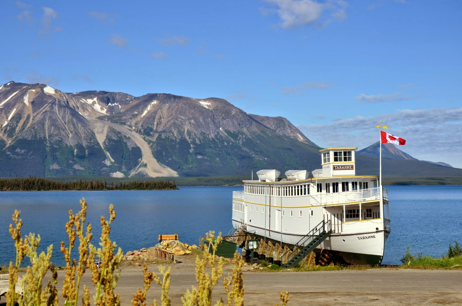 MV Tarahne on the shore of Lake Atlin