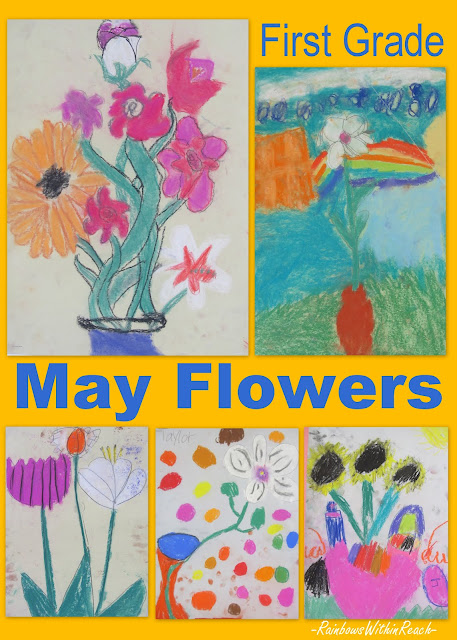photo of: Elementary Art Show, first grade bulletin board flowers, Art show bulletin board