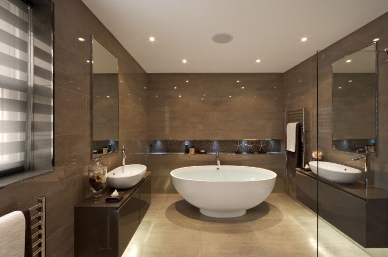 Baños Modernos Beige:Diseños de baños modernos en beige y chocolate – Colores en Casa