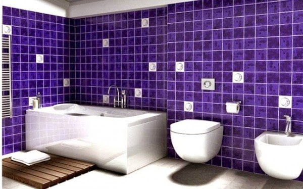 Baños Modernos Azules:Baño moderno con cerámica azul Sanitarios suspendidos enfatizan el