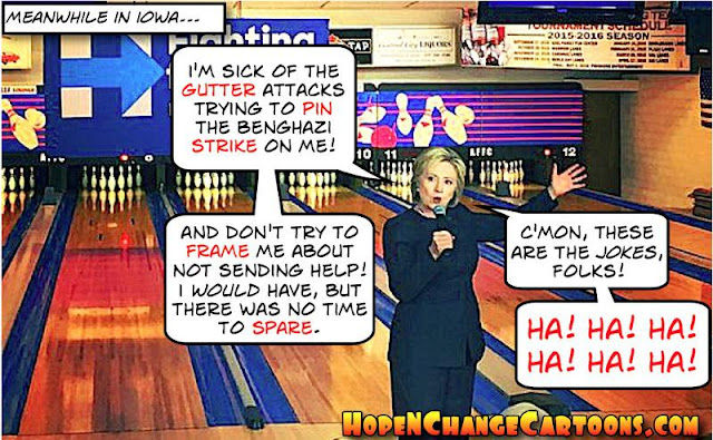 obama, obama jokes, political, humor, cartoon, conservative, hope n' change, hope and change, stilton jarlsberg, iowa, caucus, hillary, bill, clinton, bowling, benghazi, bernie sanders