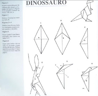 Origami - Dobraduras de papel machê. Dinossauro.