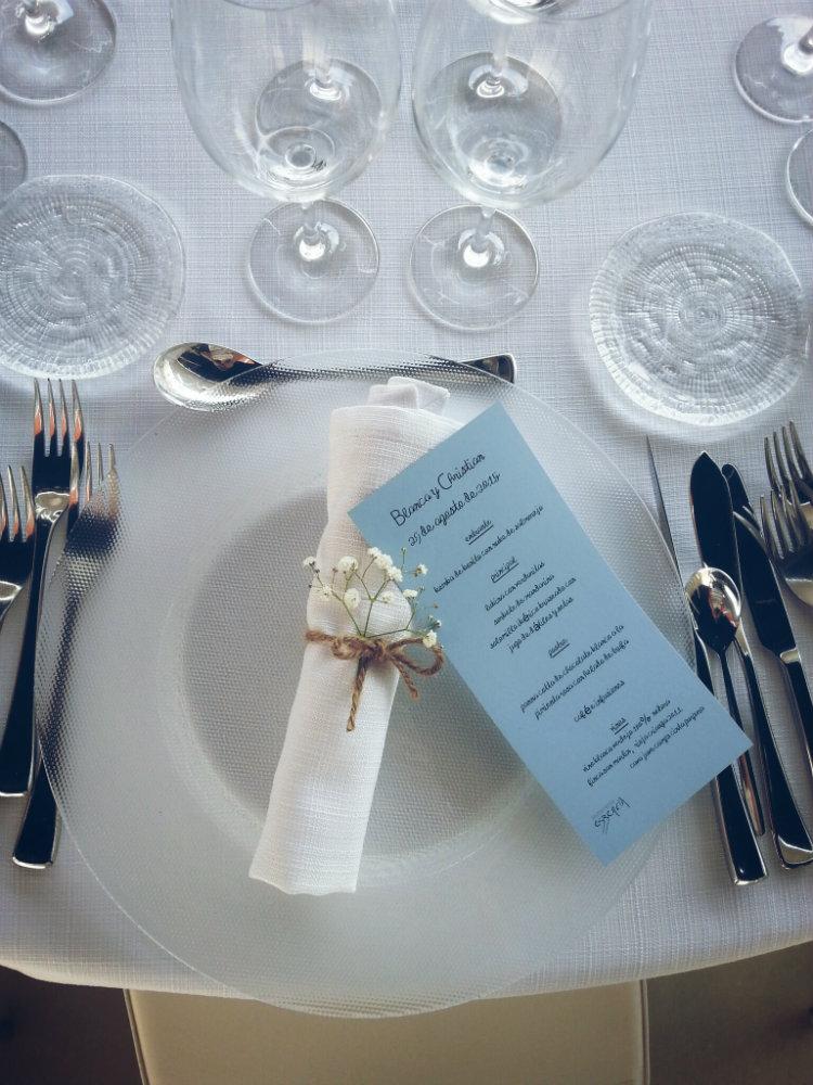 Mesa nupcial blanca y azul Eszencia