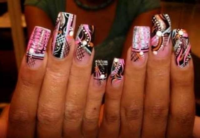 ... three colors nail painting fascinating function nail design for