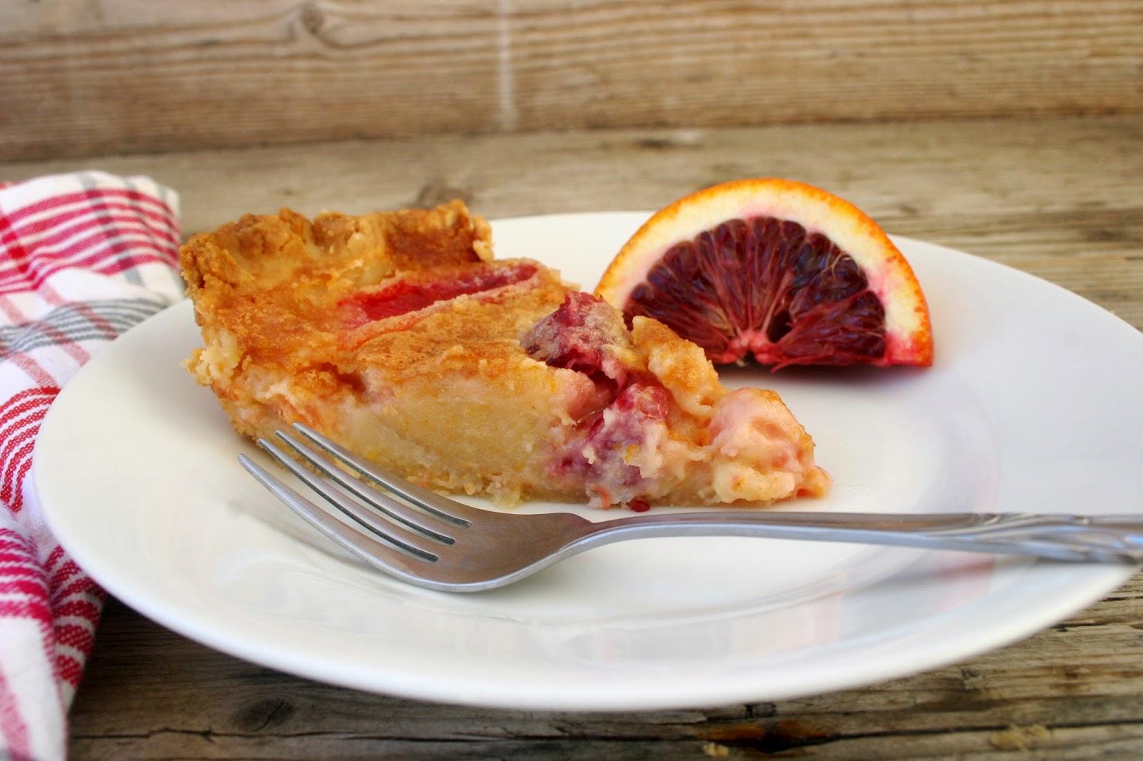 Blood Orange Chess Pie slice