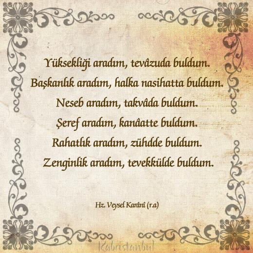 VEYSEL KARÂNİ HAZRETLERİ'NDEN HİKMETLER