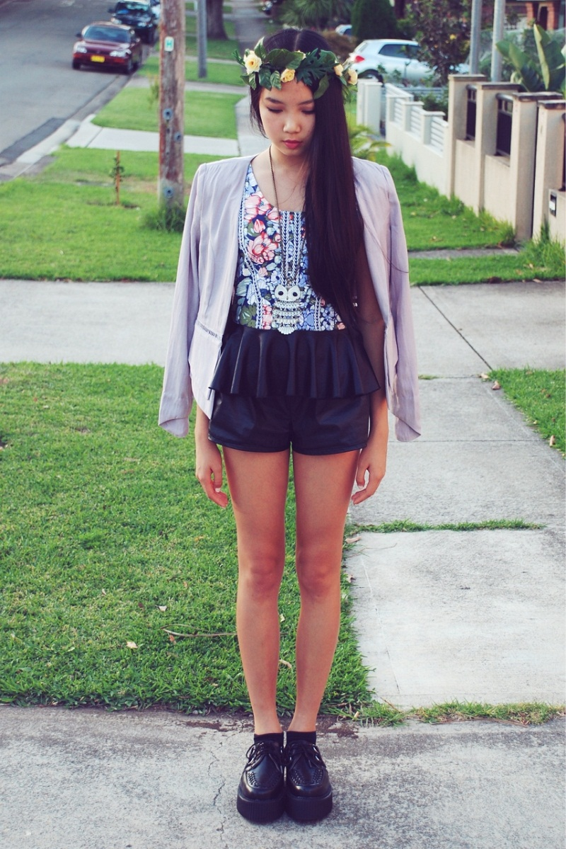 personal style, street style, blogger, floral crown, floral, blazer, peplum, leather, Paint It Red, Socialight, Ladakh, TUK, creepers