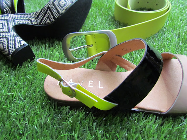 Close-up of neon accessories and shoes