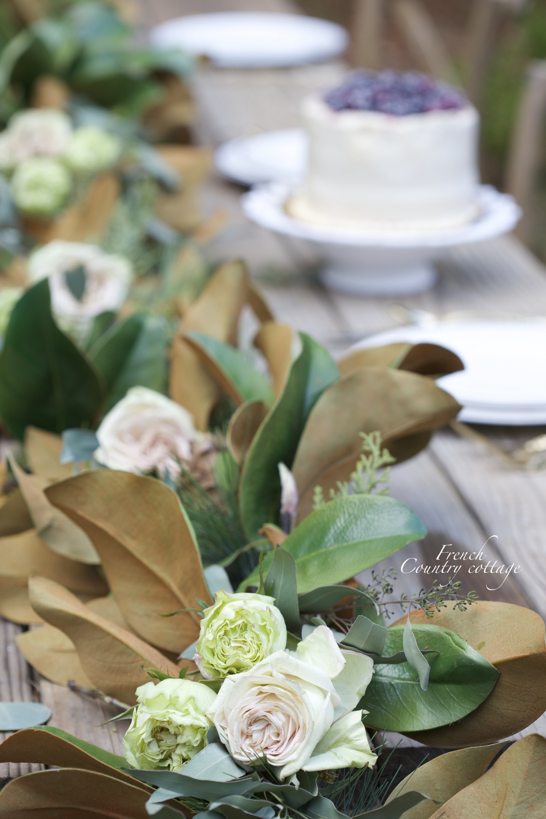 Magnolia garland centerpiece with a secret french country cottage - French country table centerpieces ...