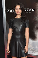 Shanina Shaik in skintight leather mini dress at Concussion premiere red carpet dresses photos