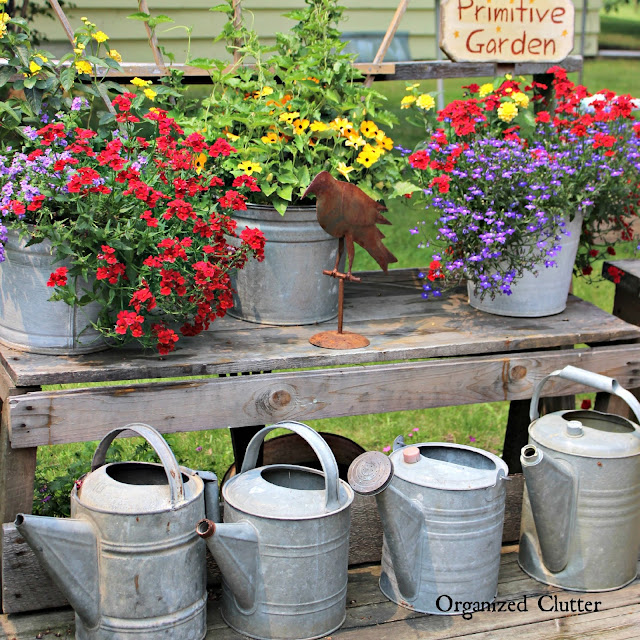 Colorful Annual Buckets on the Deck www.organizedclutter.net