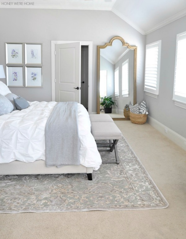 neutral master bedroom, love the Restoration Hardware leaning mirror and white bedding with neutral rug