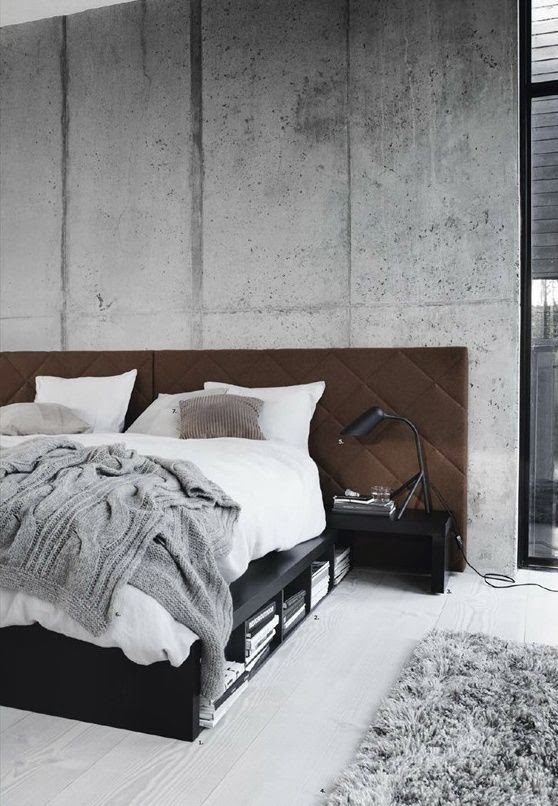 concrete wall bedroom