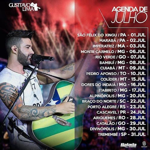 Agenda de Julho 2016 – Gusttavo Lima