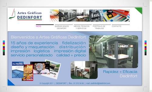 página web de Dedinfort Artes Gráficas: diseño y maquetación, impresoras, impresión digital, manipulados, distribución y logística...