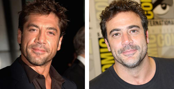 Javier Bardem and Jeffrey Dean Morgan side by sdie comparison, Celebrity look alike, celebrity doppelganger, male actors, hunks, good looking male actor, heart throb