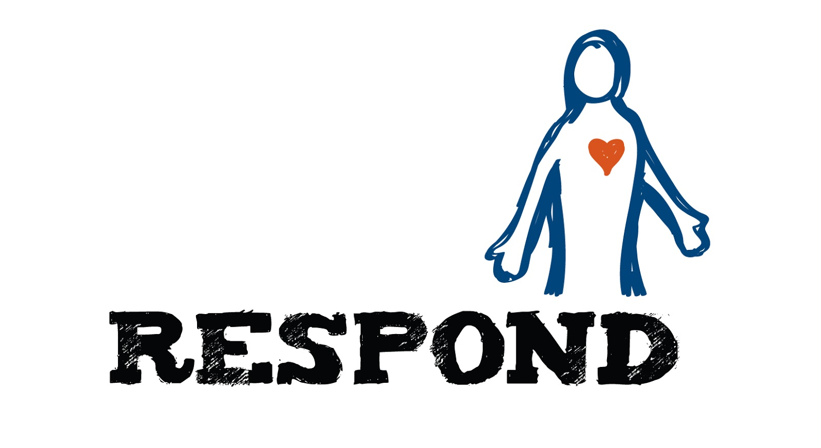 respond logo with outline of a man with a red heart