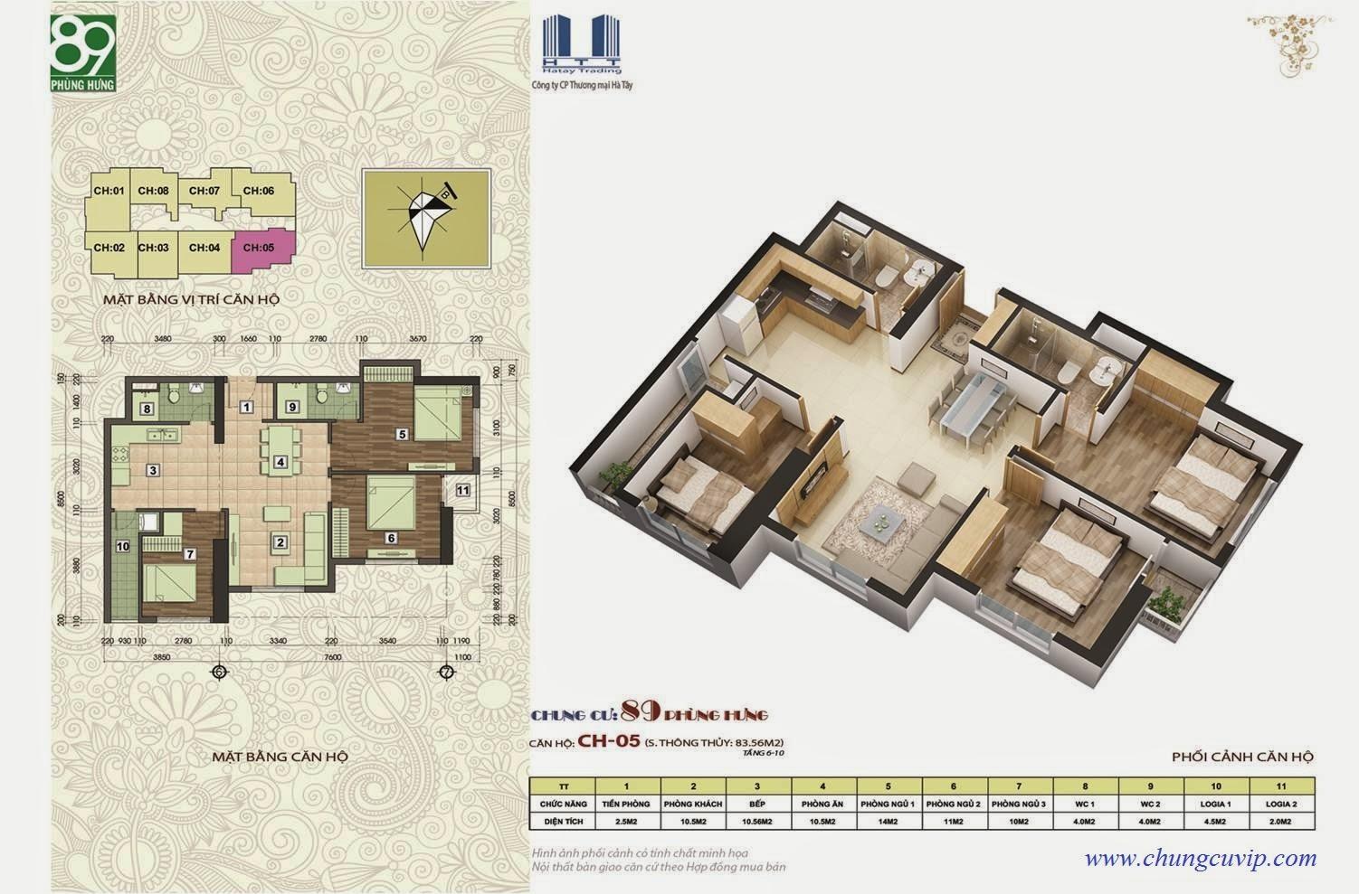 Chung cư 89 Phùng Hưng, Căn 81,78 m2
