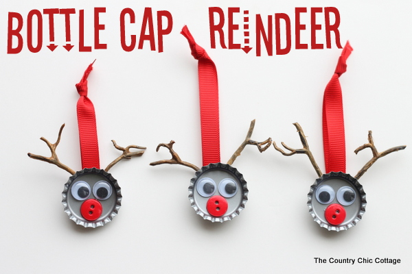 30 christmas craft ideas with buttons for Bottle cap christmas crafts