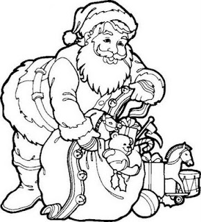 Santa smiling face coloring page as he showing Christmas gifts to children