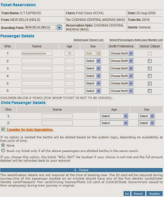 IRCTC Passenger details