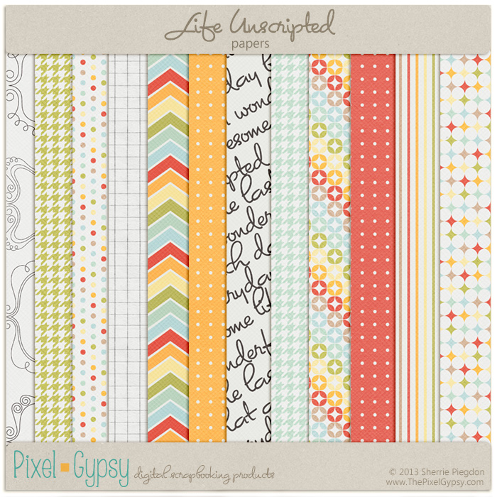 Life Unscripted Digital Scrapbooking Papers