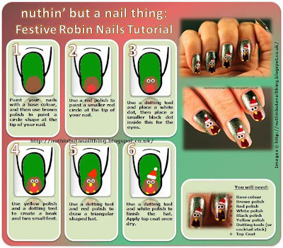 christmas robin nails tutorial