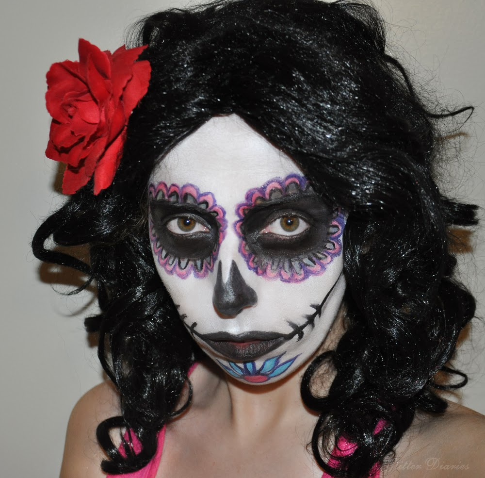 Halloween makeup tutorial day of the dead sugar skull glitter halloween makeup tutorial day of the dead sugar skull baditri Images