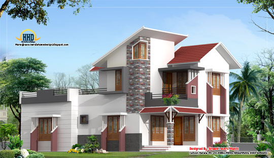 Modern house elevation 157 Sq. M. (1691 sq. ft.) February 2012