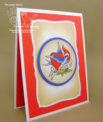 Image of my handmade tattoo art I love you card sitting at a right angle.