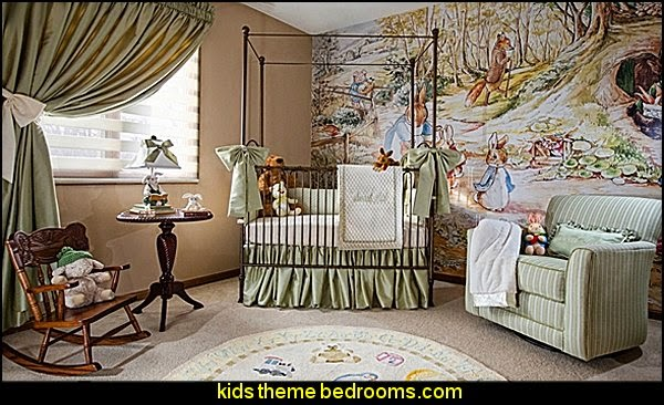 Peter Rabbit Beatrix Potter themed nursery - peter rabbit nursery decorating ideas - Peter rabbit decor -  Peter Rabbit mural - Beatrix Potter contemporary bedroom wall murals - Beatrix Potter Nursery Murals