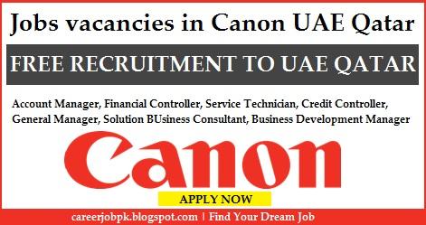 Latest jobs vacancies in Canon UAE Qatar