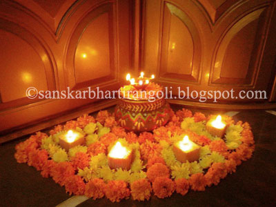 Diwali decoration idea sanskar bharti rangoli for Ideas for home decoration on diwali