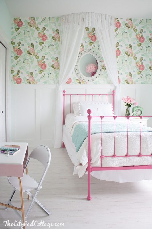 Pink bed, girls room, girly room, anthropology, wallpaper, chic, light