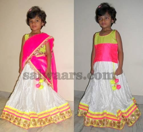 Baby in White Half Saree