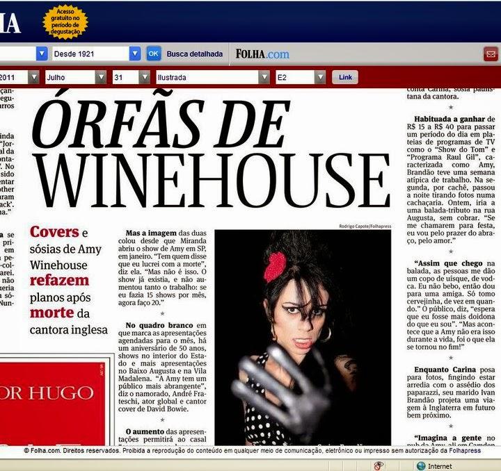 Sósia Amy Winehouse - Jornal Folha de São Paulo