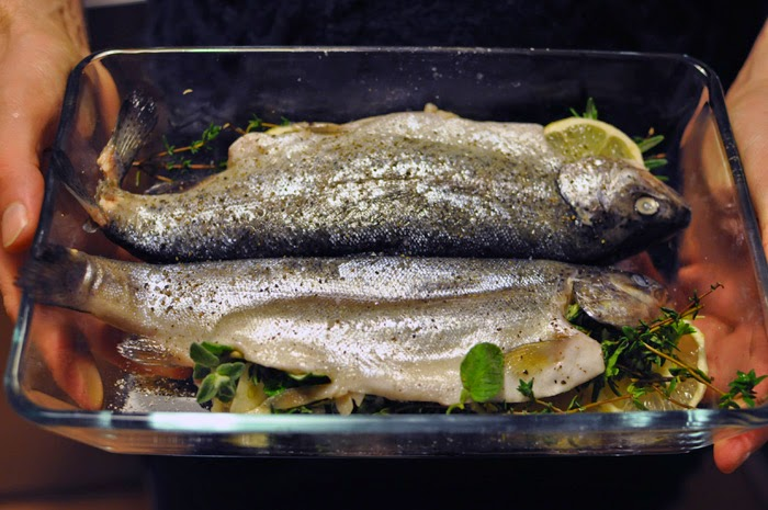 Roasted trout with couscous and fried zucchini recipe