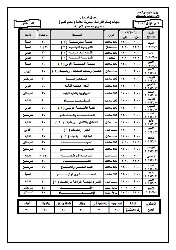 جدول امتحانات الثانوية العامة 2017 index.png
