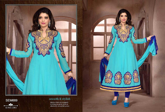 Latest New Stylish Georgette Embroidery Anarkali Suit
