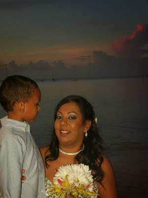 beautiful bride with her son