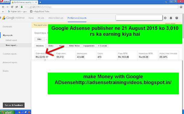 Google ADsense publisher ne 21 August 2015 ko 3010 rs ka earning kiya hai-see screenshot