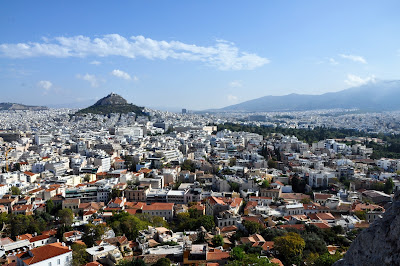 view from acropolis of athens