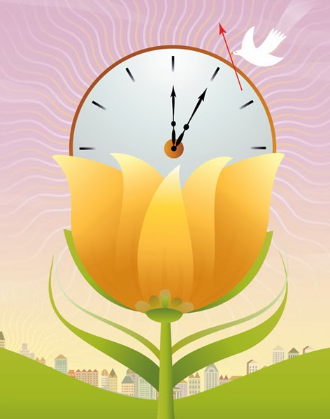 Illustration of clock and flower for Daylight Savings Time