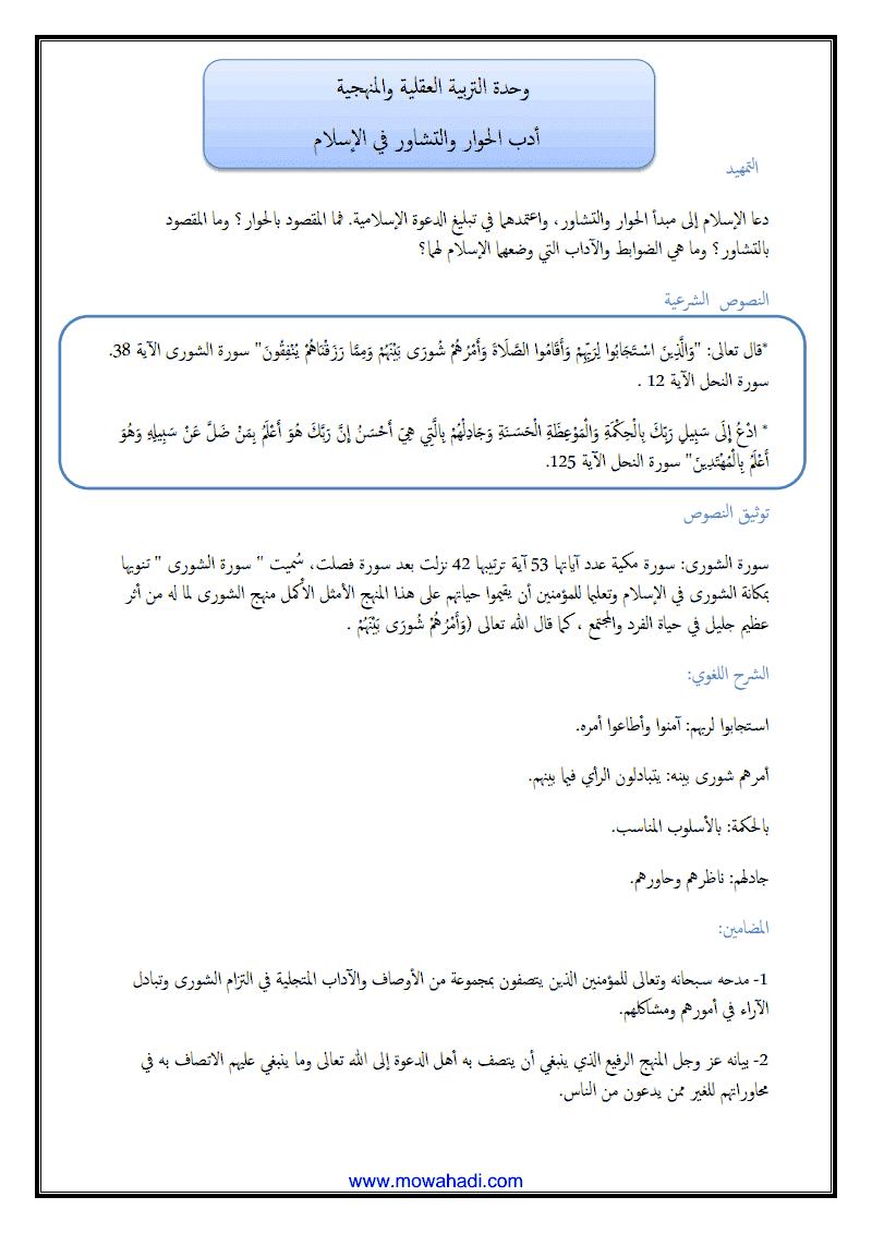 أدب الحوار و التشاور في الاسلام