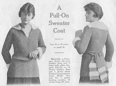 The Vintage Pattern Files: Free 1910's Knitting Pattern - A Pull on Sweater Coat