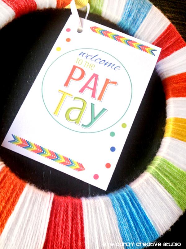 rainbow loom party decor, rainbow yarn wreath, decor for rainbow party