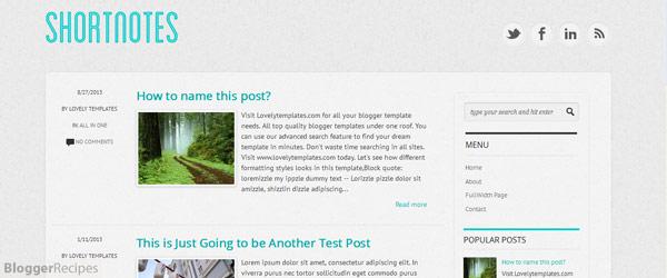 Shortnotes Blogger Template