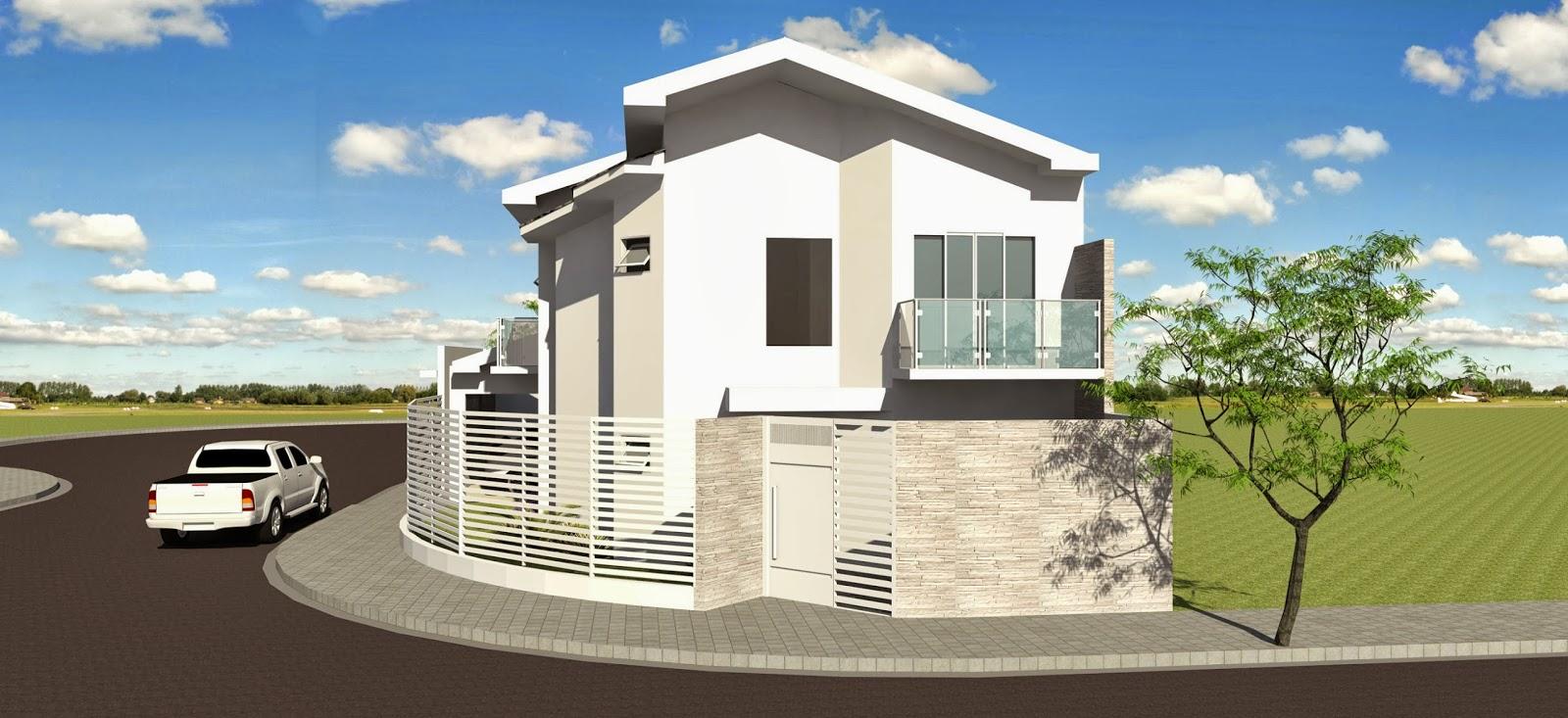 Sobrado em esquina fachada for Casa moderna esquina